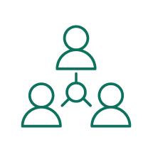 Ícone de três pessoas com um círculo entre elas do qual surge uma linha direcionada a cada um das pessoas