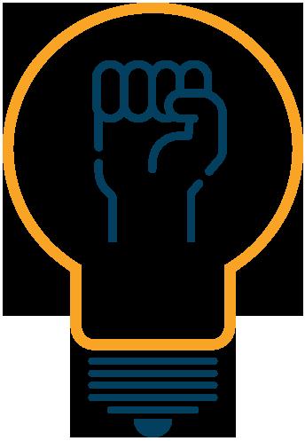 Ícone de um punho levantado dentro de um bulbo