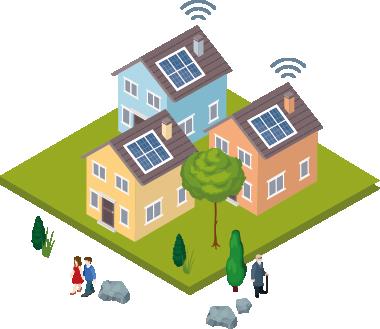 Pequeno assentamento com três casas, que possuem painéis solares no telhado