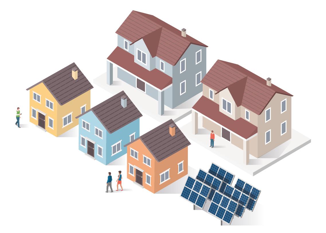 Assentamento de cinco casas, que tem um pequeno parque solar em comum